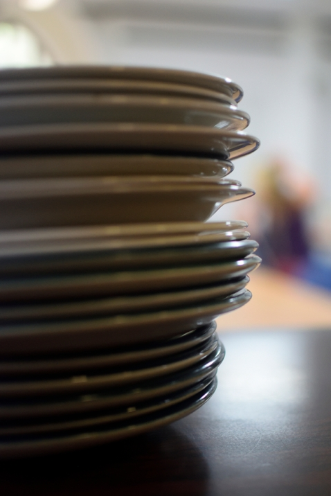 Plates piled up ready for service